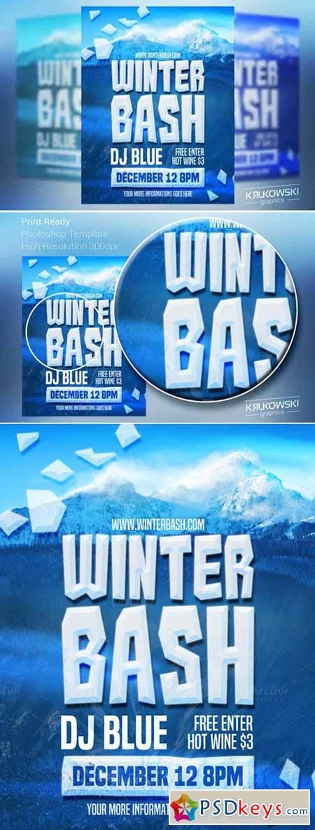 Winter Bash Flyer Template   Free Download Photoshop Vector