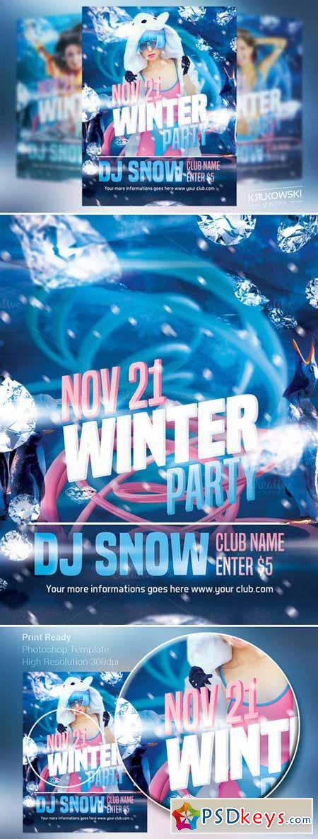Winter Party Flyer Template   Free Download Photoshop