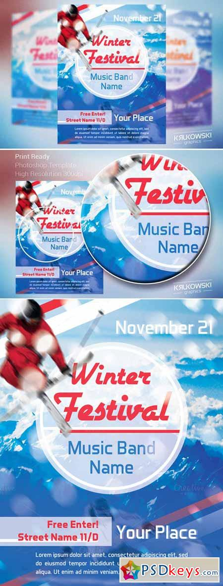 Winter Festival Flyer Template   Free Download Photoshop