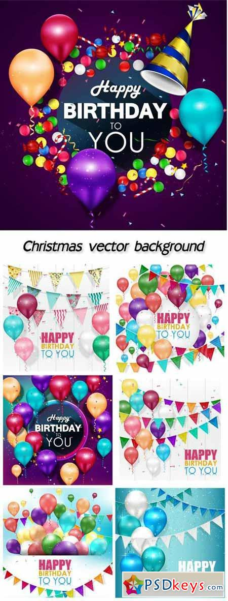 Happy birthday, garlands and balloons vector