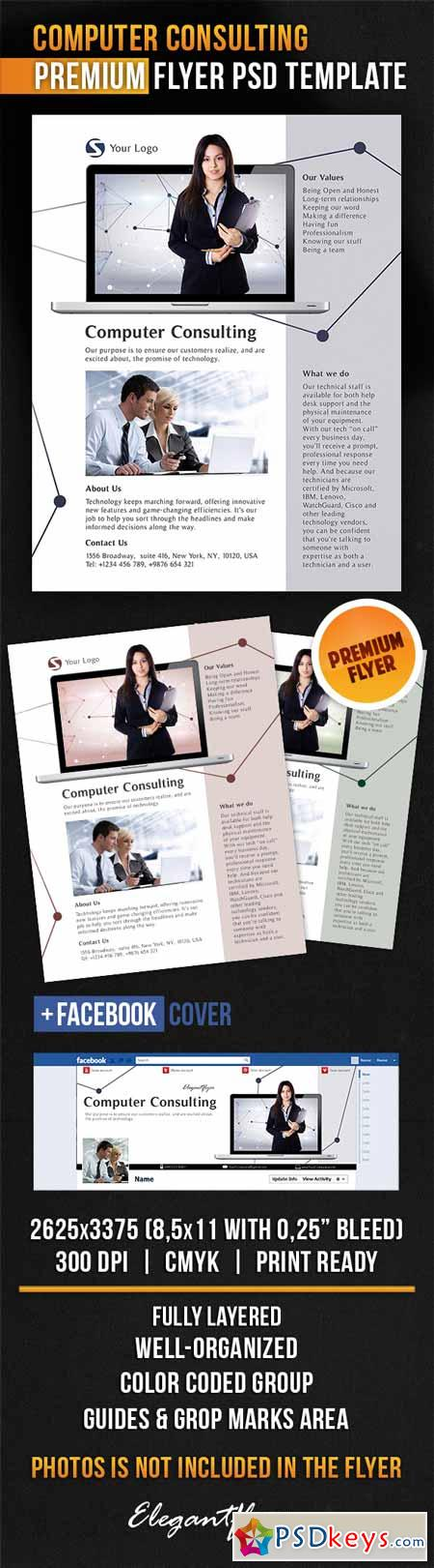 Computer Consulting – Flyer PSD Template + Facebook Cover