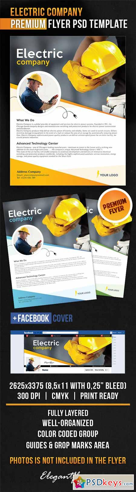 Electric Company – Flyer PSD Template + Facebook Cover