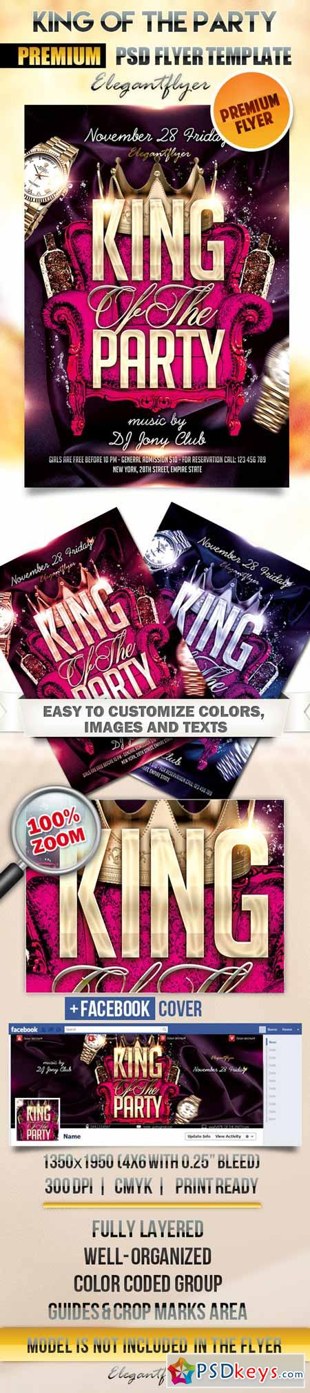 King Of The Party – Flyer PSD Template + Facebook Cover