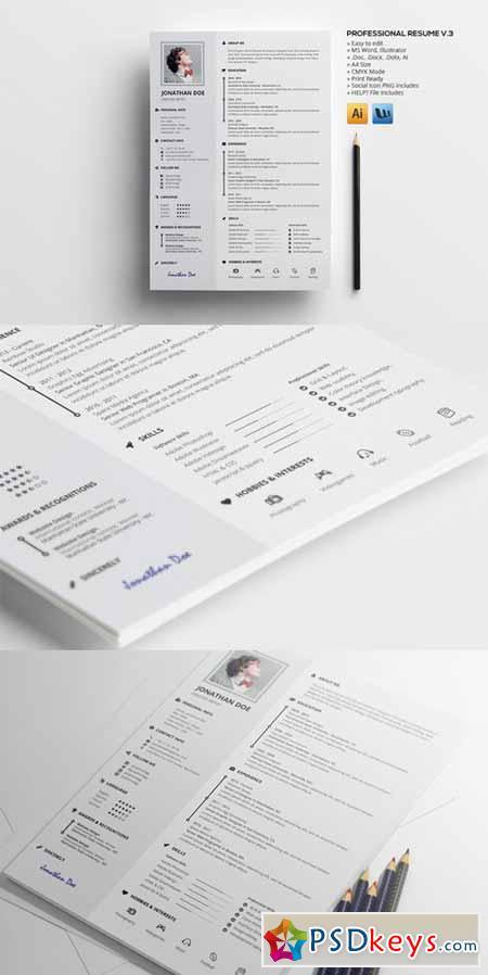 professional resume v 3 450630  u00bb free download photoshop