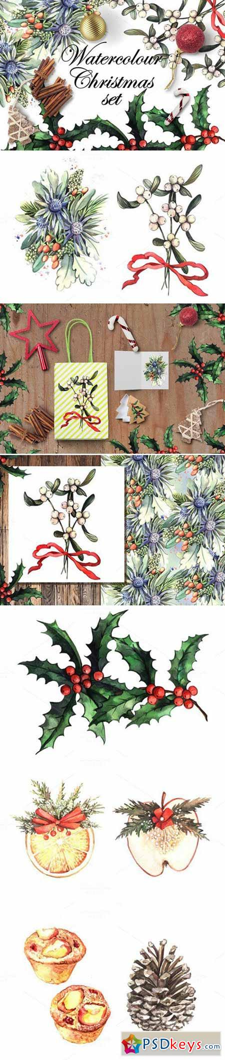 Watercolour Christmas set 448402