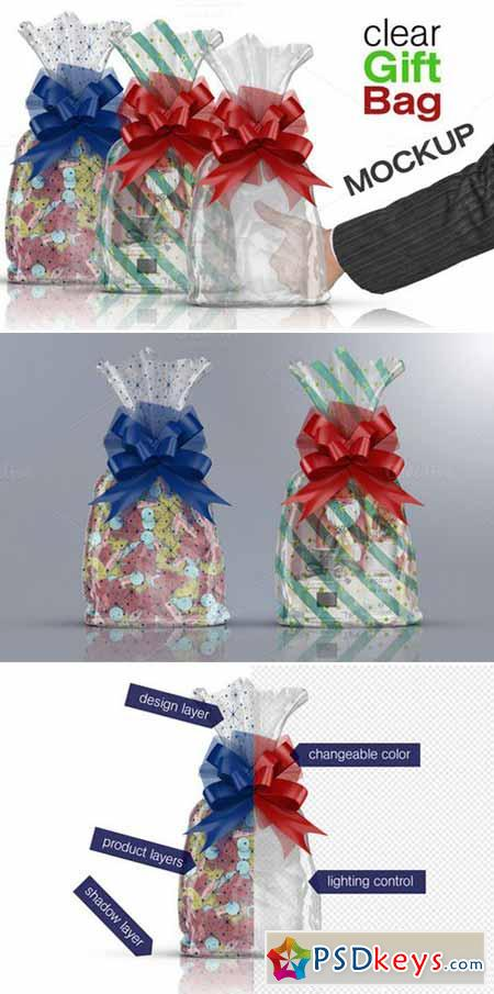 Clear Cello Gift Bag Mockup 453317