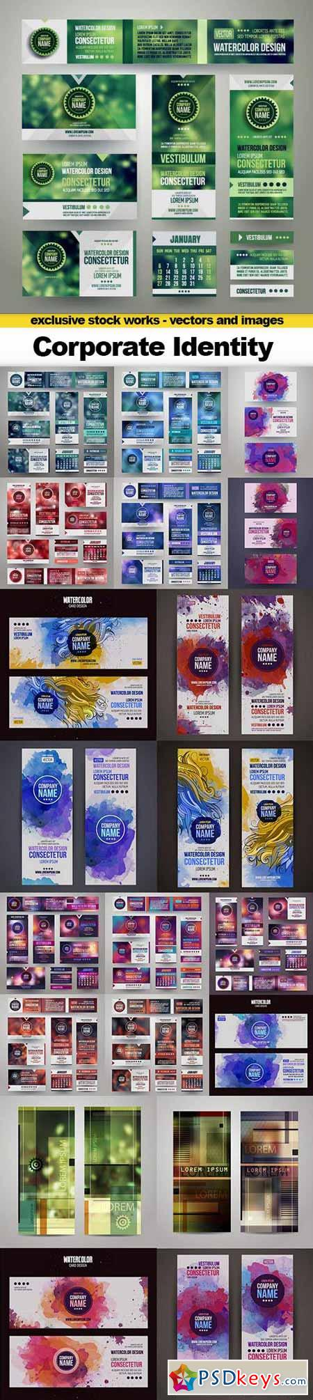 Corporate Identity Templates With Blurred Abstract Background, 21xEPS