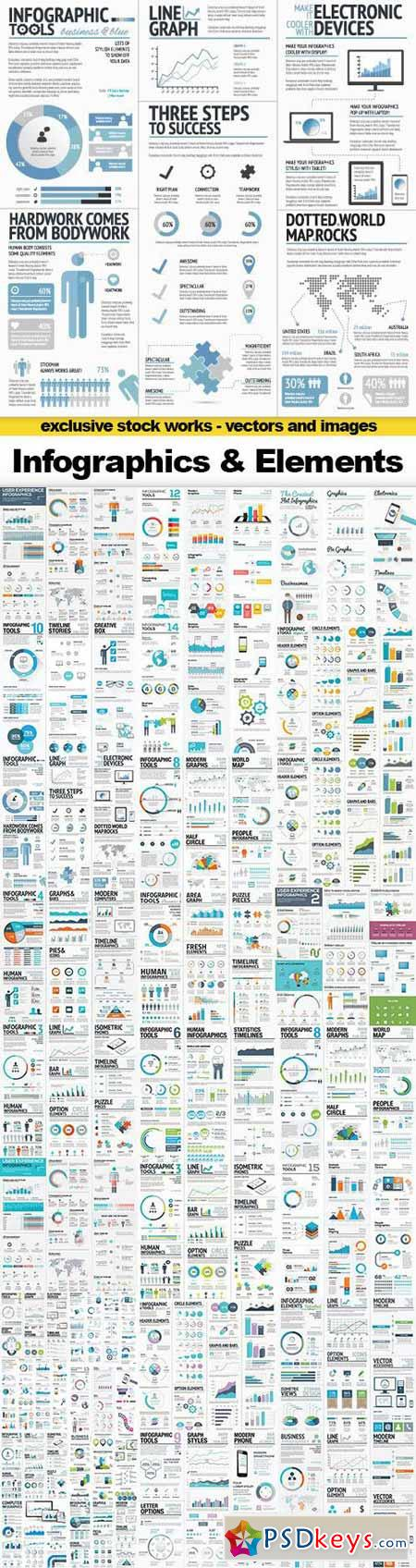 Infographics Templates & Business Elements, 30x EPS