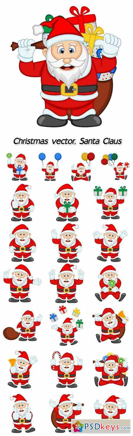 Santa Claus with gifts, vector Christmas