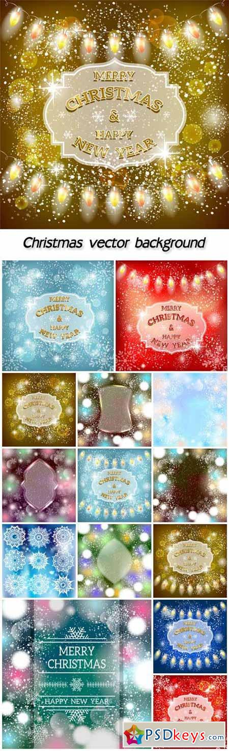 Christmas vector background with sparkling garlands and snowflakes