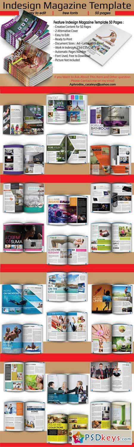 Indesign Magazine Template 50 Pages 454523