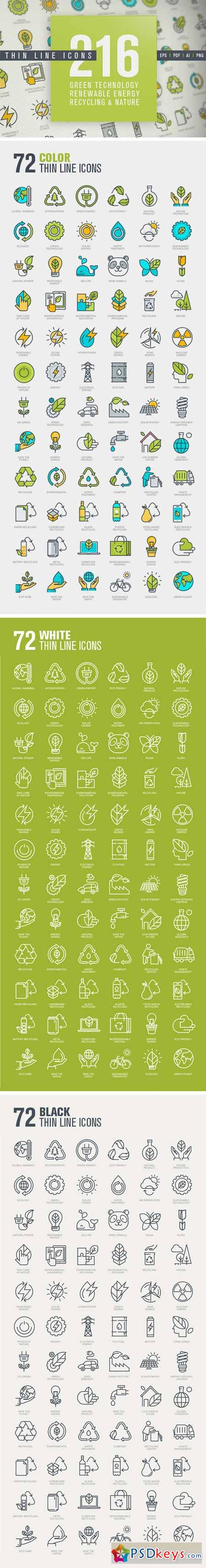 Thin Line Icons for Green Technology 329519