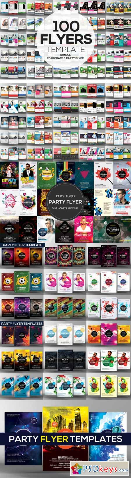 100 Corporate and Party Flyers Psd 457743