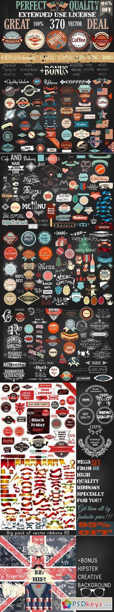 Bundle of retro vector labels 456436