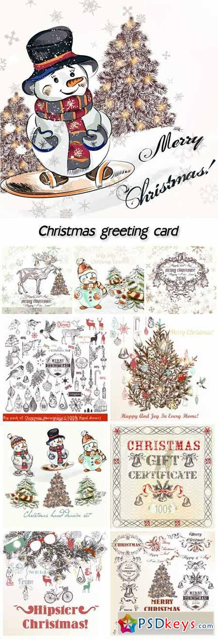 Christmas greeting card in vintage style