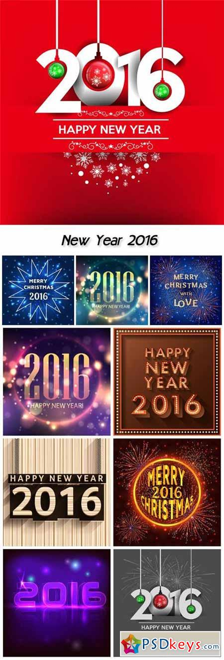 New Year 2016, vector holiday backgrounds