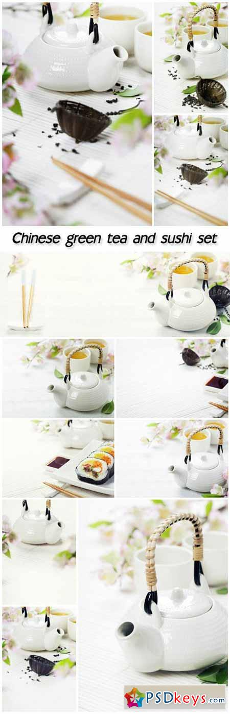 Chinese green tea and sushi set