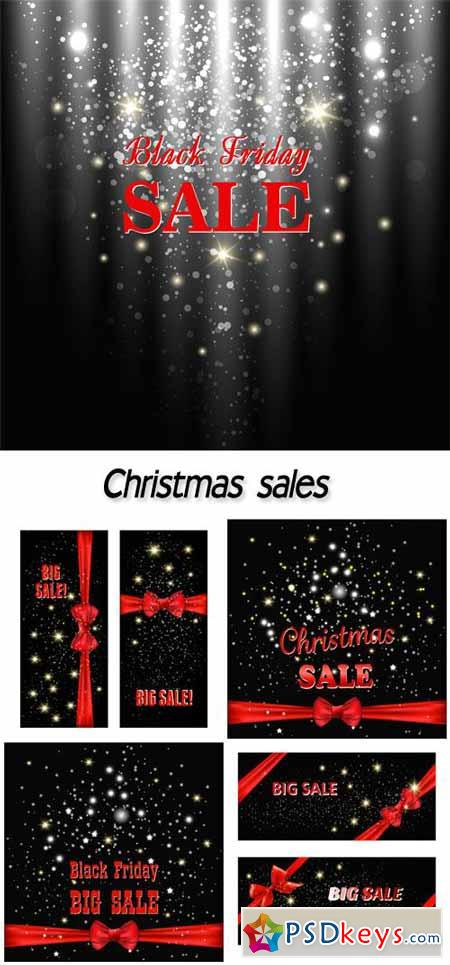 Christmas sales, backgrounds vector #2