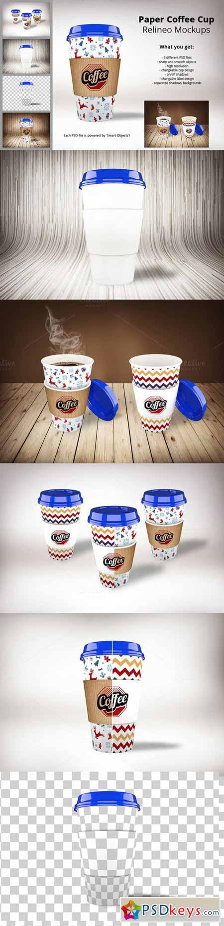 Relineo Paper Coffee Cup Mockup Pack 459528