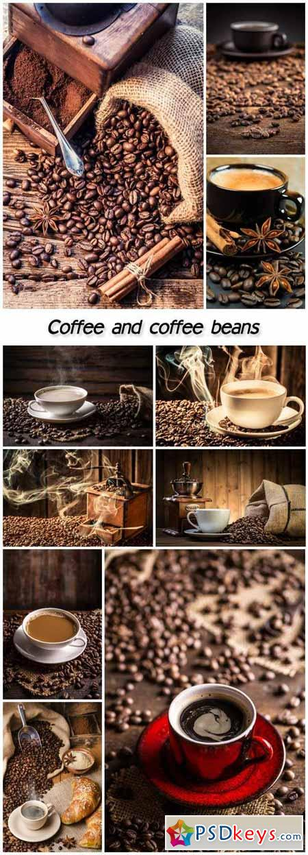 Coffee collage, cups of coffee and coffee beans