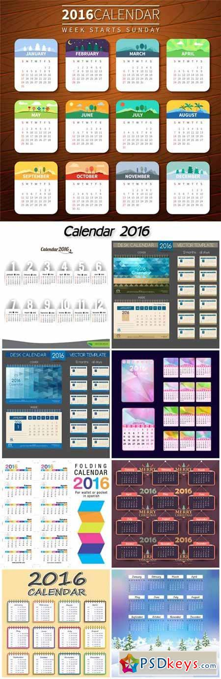 Calendar 2016 with Christmas tree and gifts