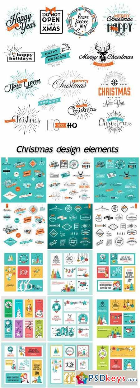 Christmas vector card design elements