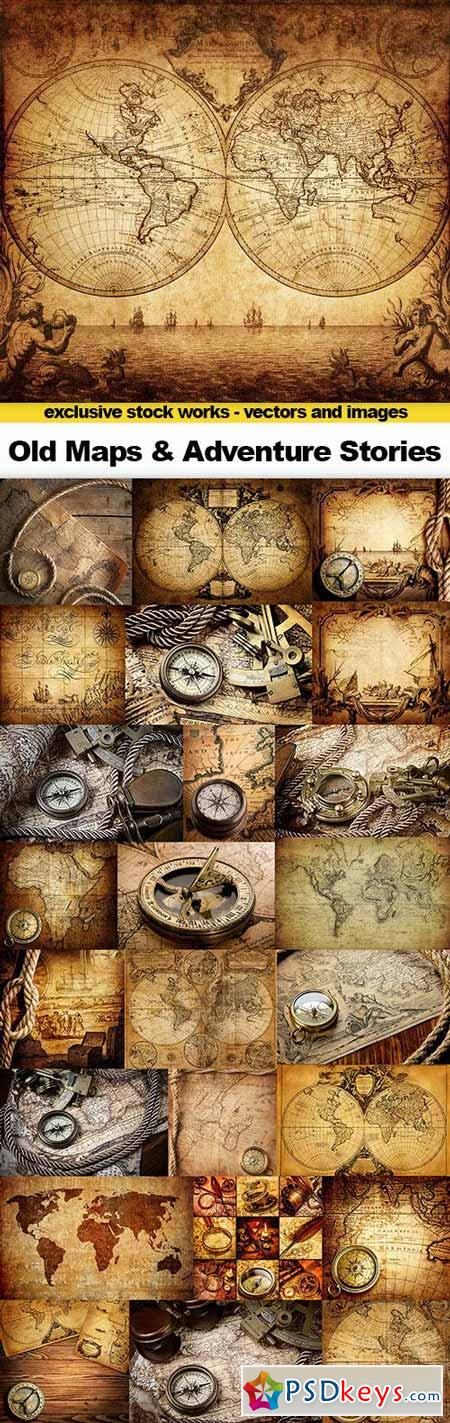 Old Maps, Сompass, Rope on Canvas & Adventure Stories Background, 25x UHQ JPEG