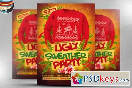 Ugly Sweater Flyer Template Free Download Photoshop - Ugly sweater flyer template free