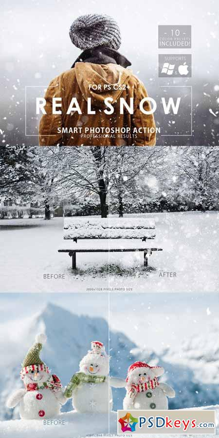 Real Snow Photoshop Action 468208