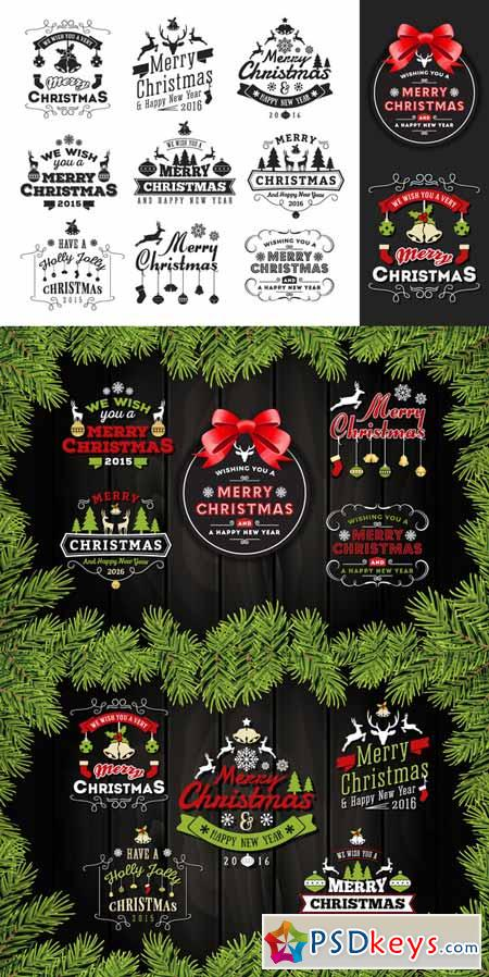 Christmas & New Year Badges & Label 454268