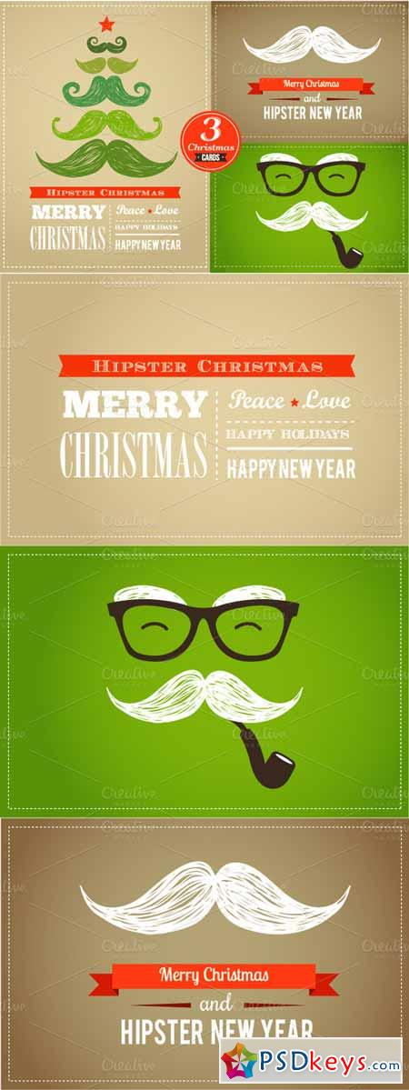 Set of Hipster Christmas cards 13216