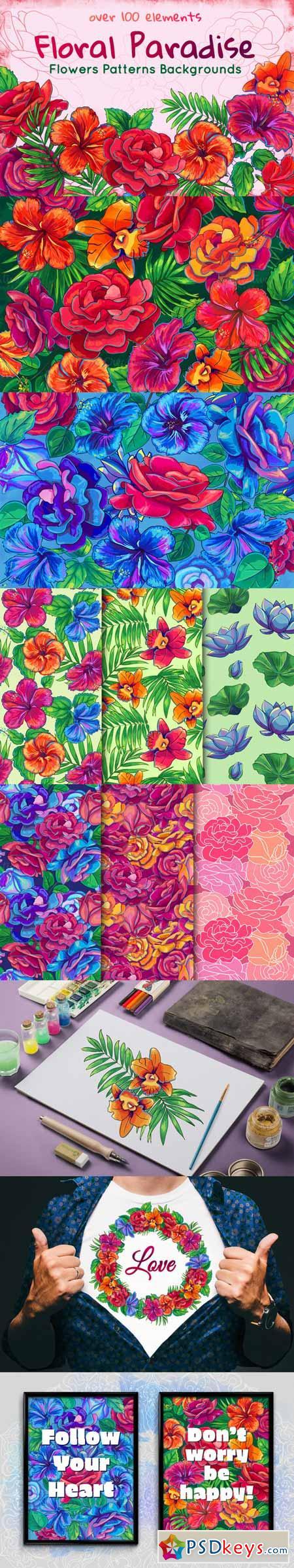 Rose, Hibiscus, Lotus floral Bundle 467904