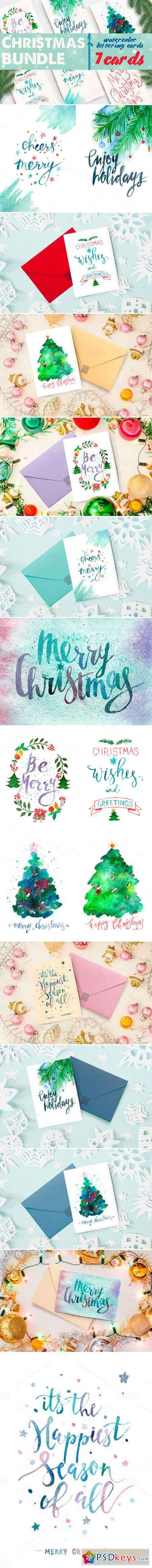 Watercolor christmas cards bundle 465878