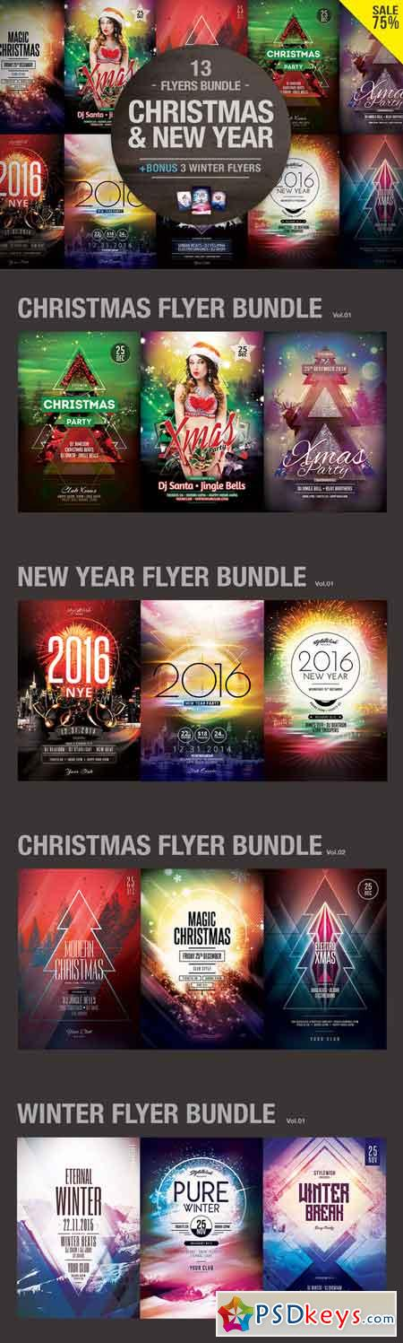 Christmas & New Year Flyers Bundle 464734