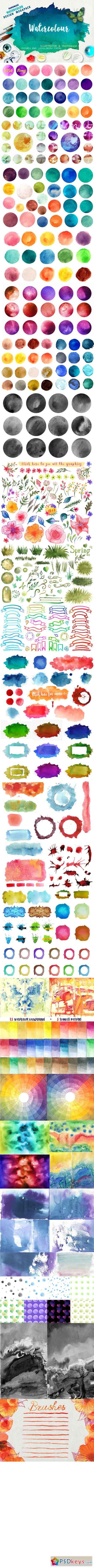 Megapack watercolor for design 404415