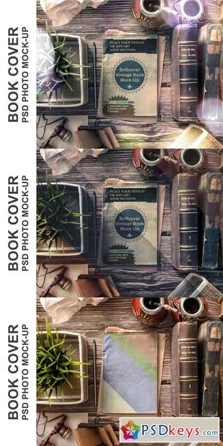Vintage Soft Cover Book Mock-up 470772