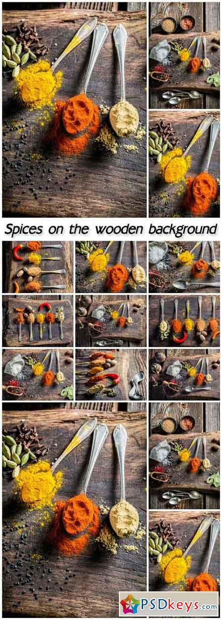 Spices on the wooden background