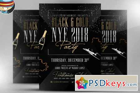 Black  Gold Nye Flyer Template   Free Download Photoshop