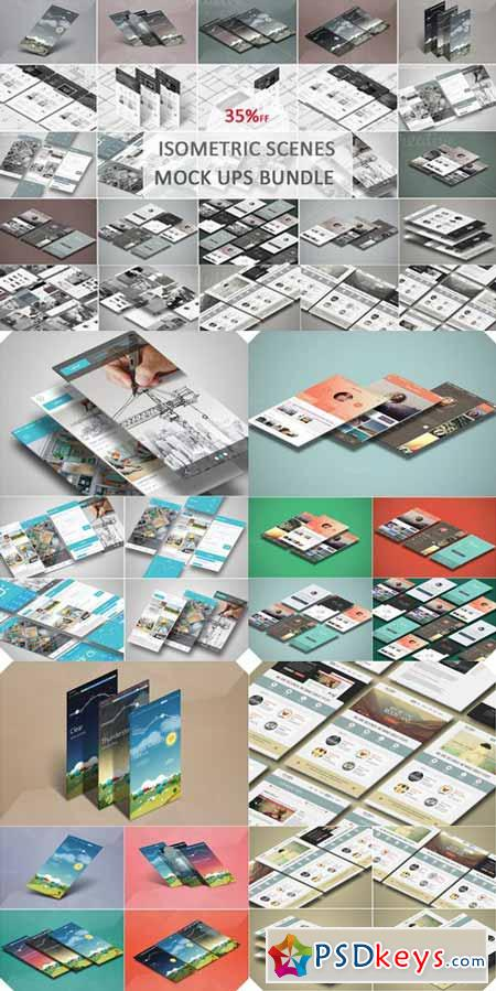 Isometric Scenes Mock ups Bundle 472950