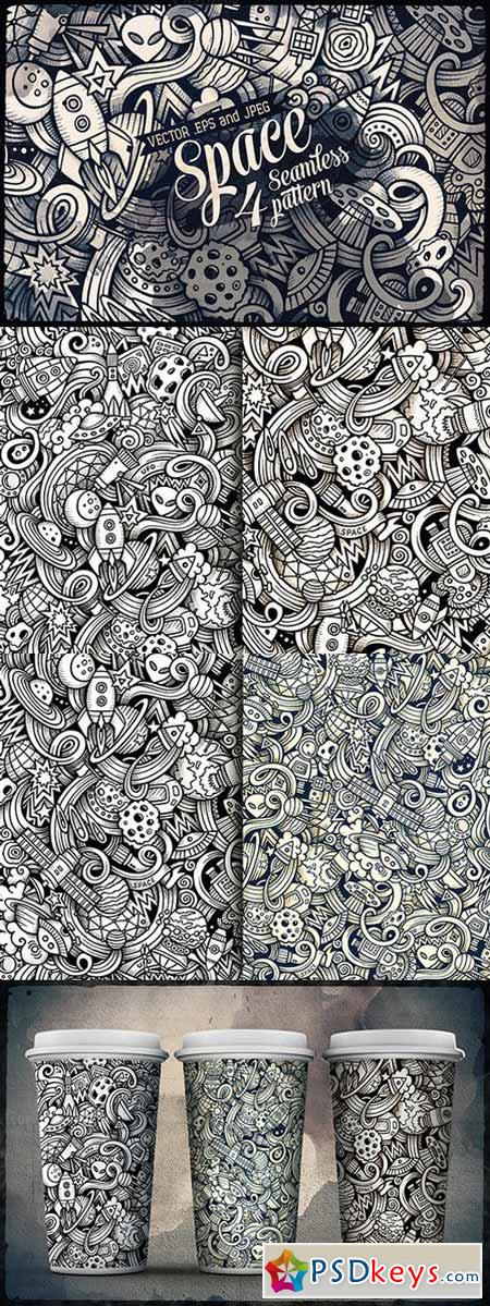 4 Space Doodles Patterns 474793