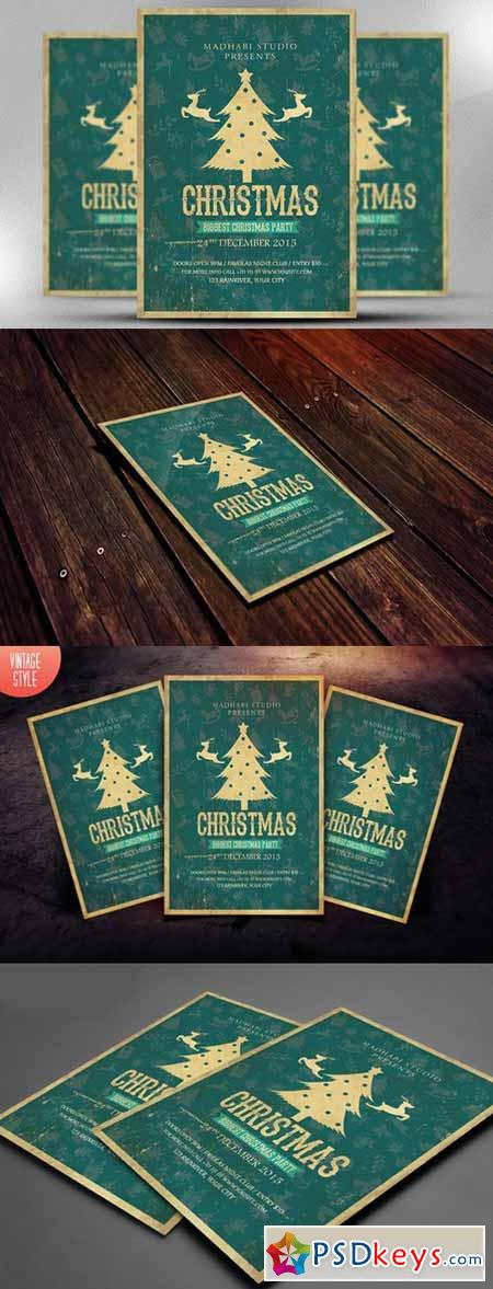Vintage Christmas Flyer Template 414025