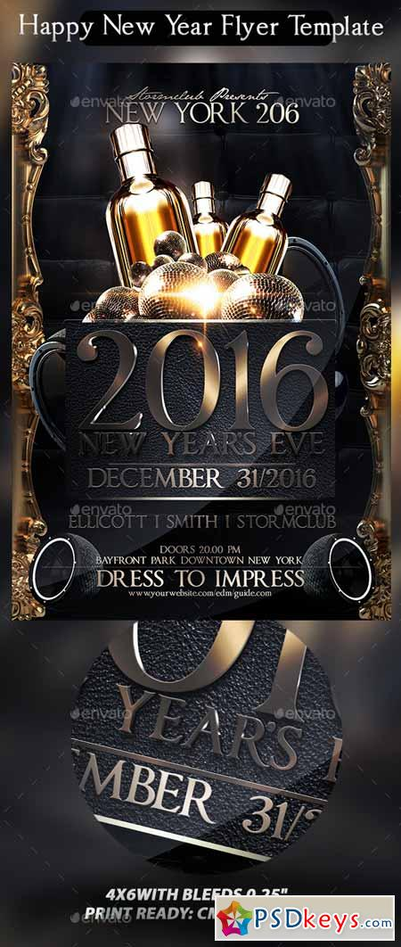 Happy New Year Flyer Template   Free Download Photoshop