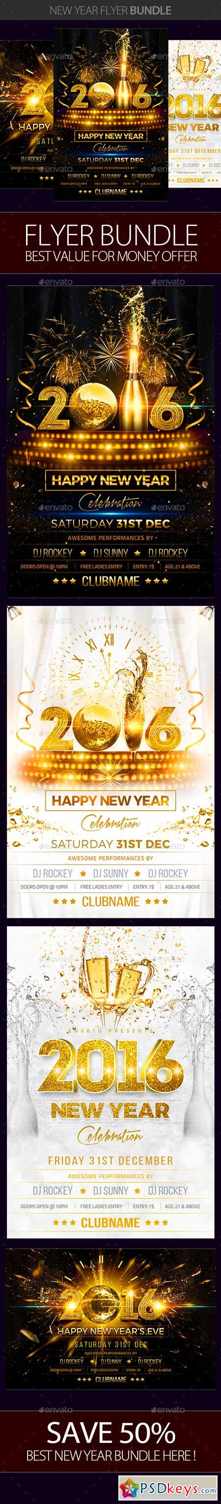 New Year Party Flyer Bundle 13933153