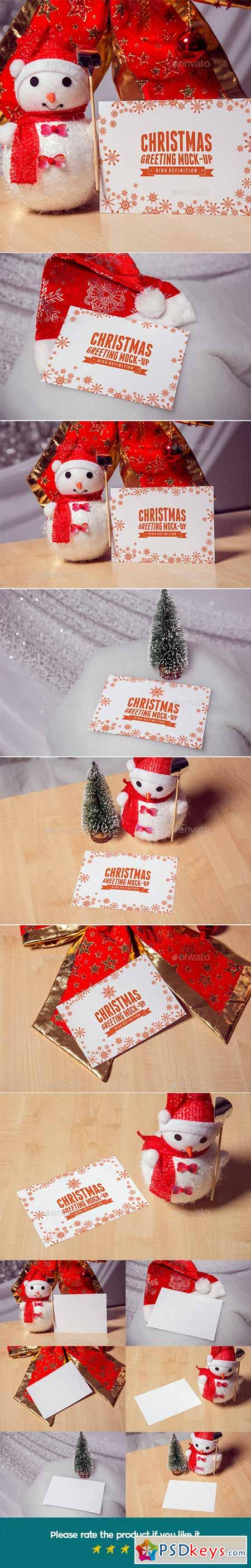 Photorealistic Christmas greeting Mock-Up 13913189