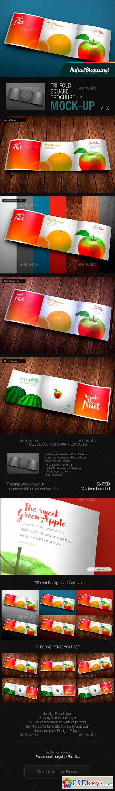 Tri-Fold Square Brochure Mock-up 4 14017614