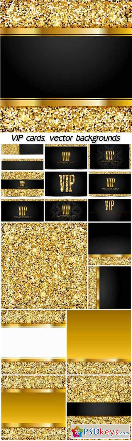 VIP cards, gold vector backgrounds