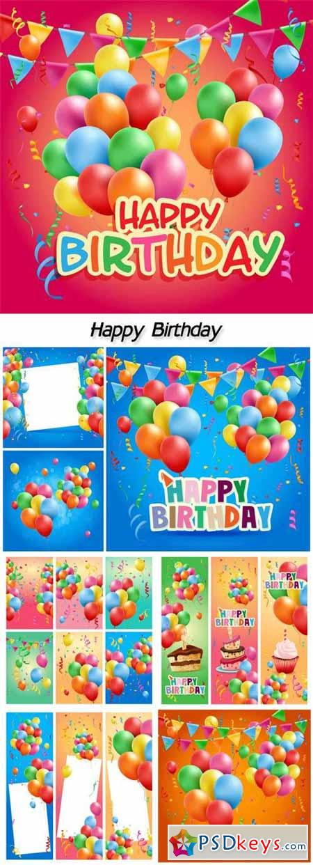 Vector cards Happy Birthday balloons