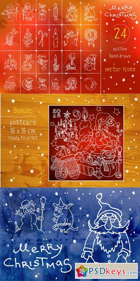 Christmas and New Year vector icons 477703