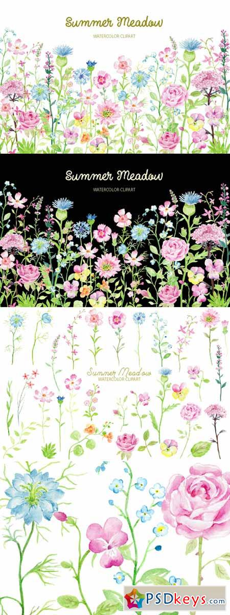 Watercolor Clipart Summer Meadow 477913