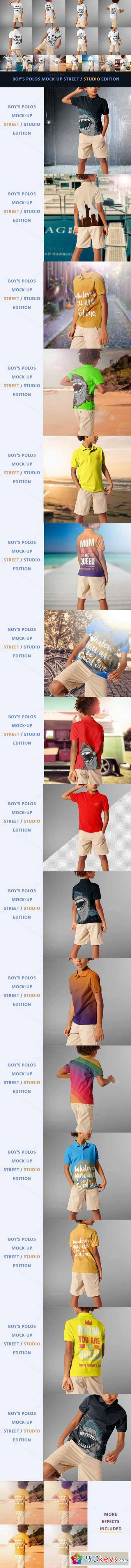 Boy's Polos Mock-up Street studio 476697